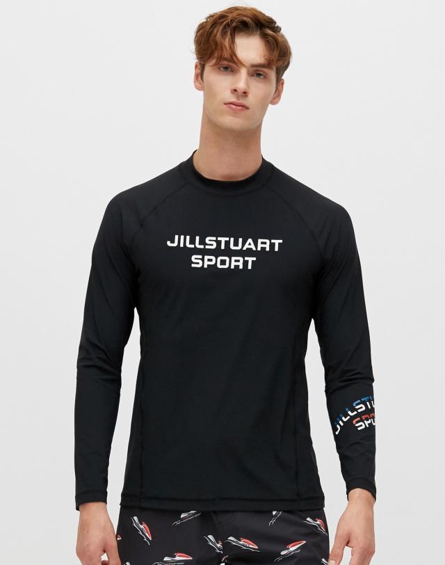 질스튜어트 스포츠 뉴욕(JILLSTUART SPORT NEWYORK) [Long Beach Loose-fit Rashguard] 블랙 남성 솔리드 레터링 루즈핏 래쉬가드 JMSR9B414BK