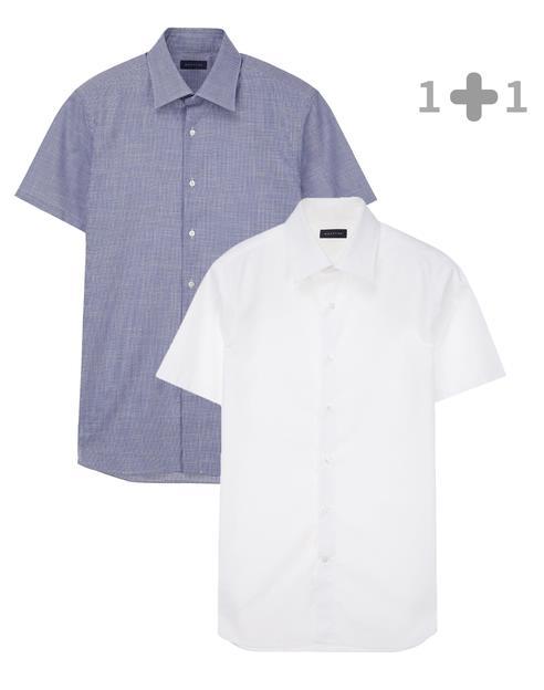 [iron-free]화이트 솔리드 + 라이트블루 하운드투스 반팔캐주얼셔츠 세트