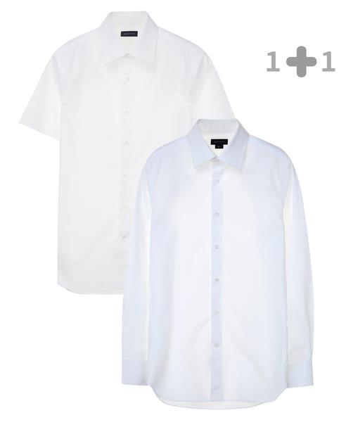 [iron-free]슬림 화이트 드레스셔츠 + 화이트 구김방지 솔리드 면 긴팔드레스셔츠 세트