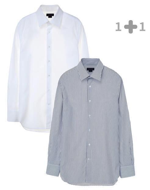 [iron-free]슬림 화이트+블루 스트라이프 드레스셔츠 세트