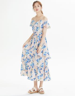 핑크 폴리에스터 빅 플라워 패턴 러플 원피스