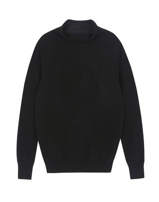 블랙 모 혼방 폴라넥 솔리드 스웨터