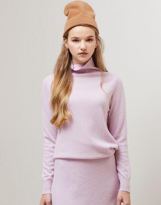 핑크 모 혼방 폴라넥 솔리드 스웨터