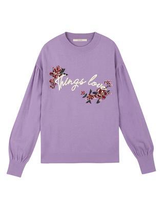퍼플 모 혼방 입체 자수장식 스웨터
