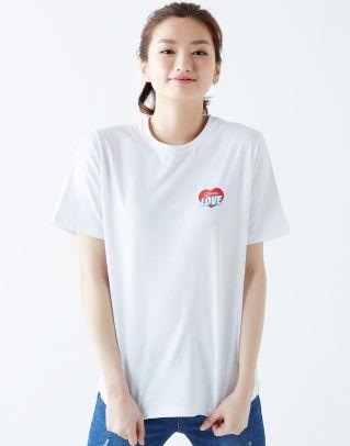 화이트 면 레터링 패치장식 티셔츠