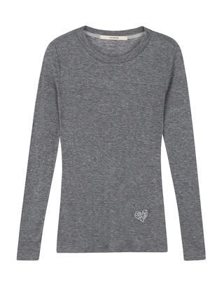 그레이 레이온 혼방 골지 라운드 티셔츠