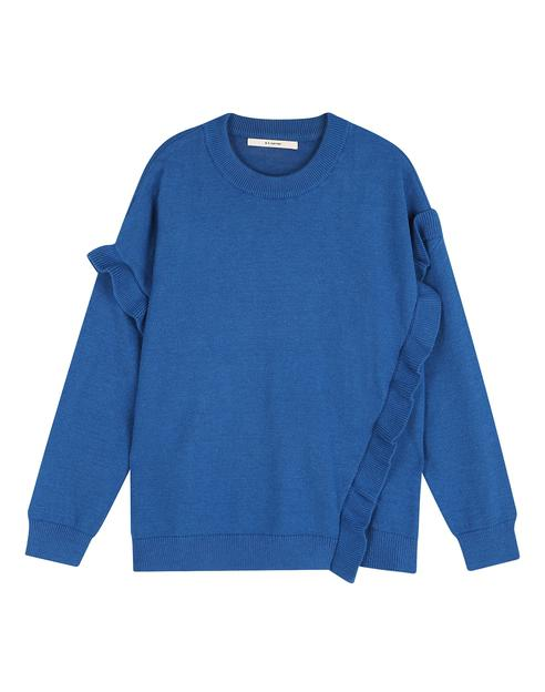 블루 레이온 혼방 러플 장식 라운드 스웨터