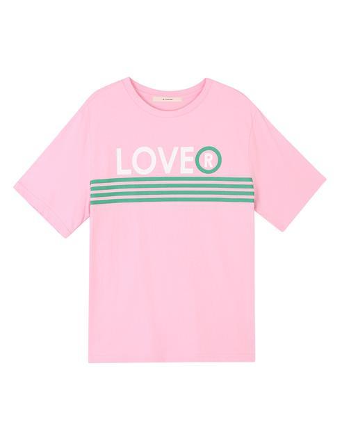 핑크 면 LOVE  스트라이프 반팔 티셔츠