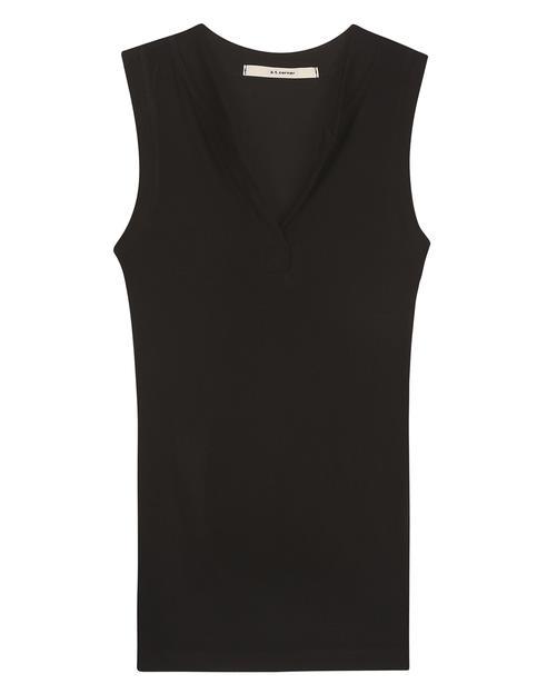 블랙 레이온 골지 슬림 민소매 티셔츠