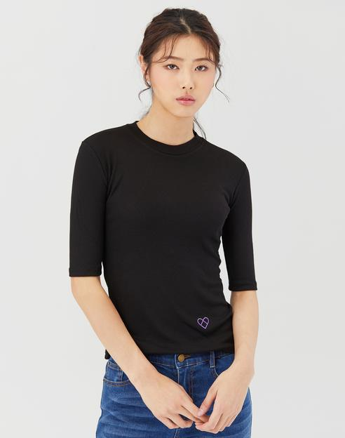 블랙 레이온 혼방 5부 소매 골지 티셔츠