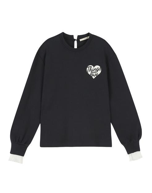 네이비 면 혼방 레터링 장식 소매 레이어드 티셔츠