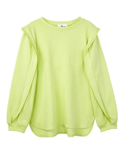 옐로우 면 혼방 숄더 디테일 언발 티셔츠