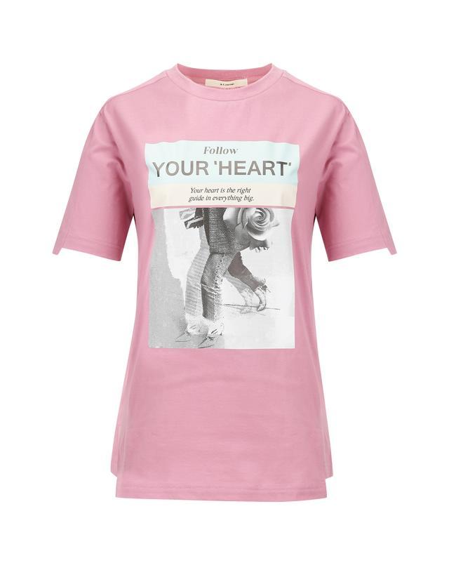 [A.T.CORNER] 핑크 면 프린팅 반팔티셔츠