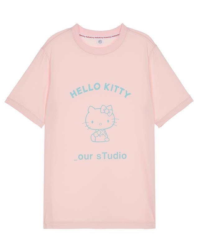 [헬로키티×아워] 핑크 프린팅 면 반팔티셔츠