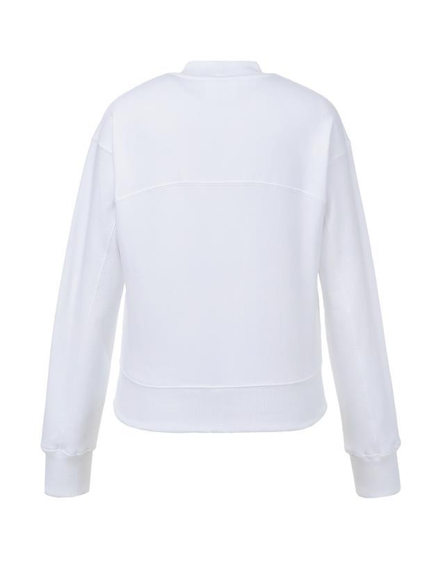 [OUR] 화이트 면 로고자수 반 넥 티셔츠