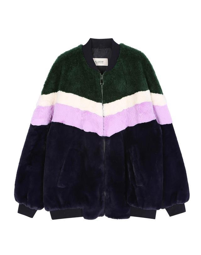 [FUN FUR] 네이비 폴리에스터 컬러 블록 털 자켓