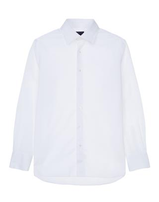 화이트 단색 면 긴팔캐주얼셔츠