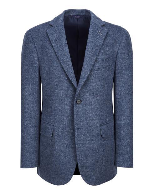 블루 패턴 울캐시미어 혼방 자켓