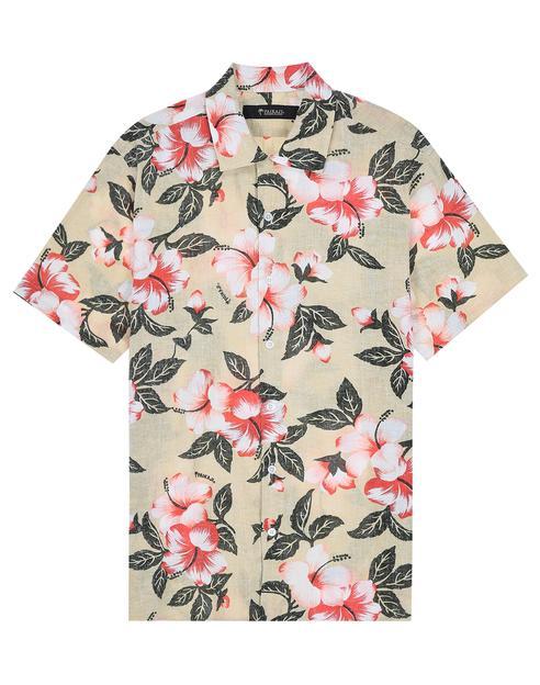[PAIKAJI_OKINAWA] ALOHA 베이지 플라워프린트 린넨혼방 셔츠