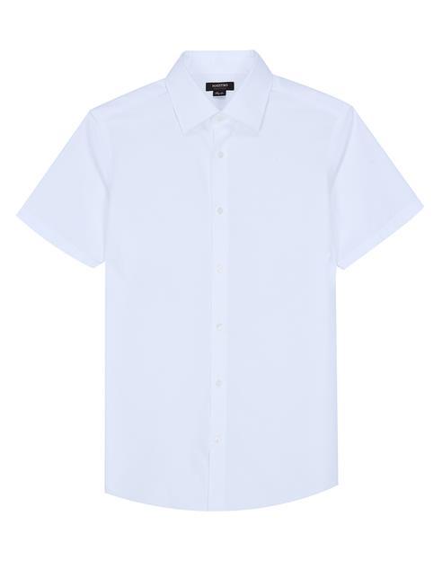 [세상편한셔츠 #1] IRON-FREE 반팔 솔리드 화이트 면 드레스셔츠