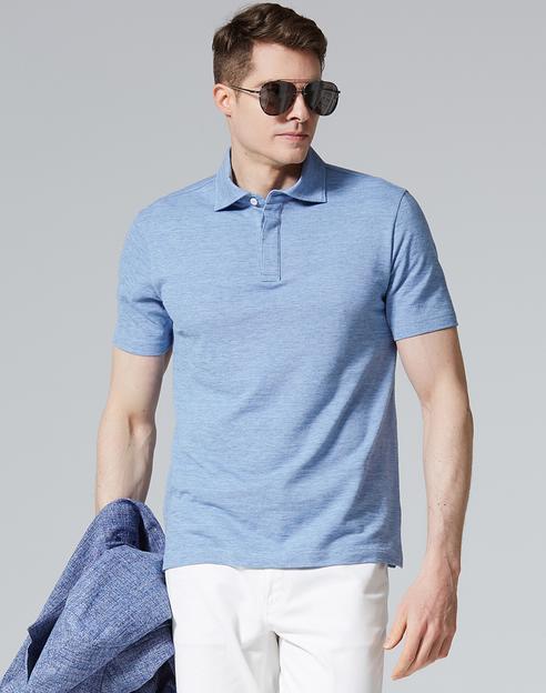 블루 면 반팔카라티셔츠