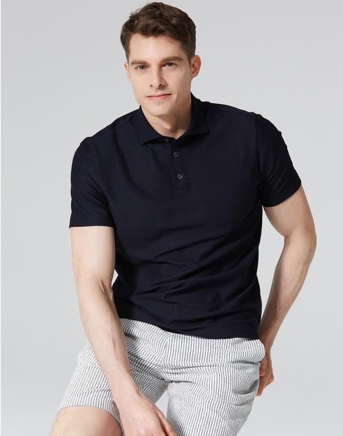 네이비 면혼방 반팔카라티셔츠