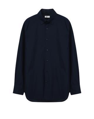 네이비 솔리드 코튼 셔츠