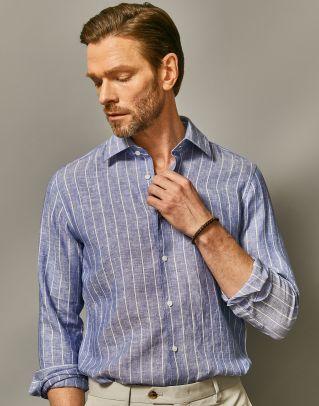 [프리미엄]린넨100 스트라이프 셔츠