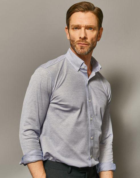 [Stretch]블루 코튼 져지 셔츠형 티셔츠