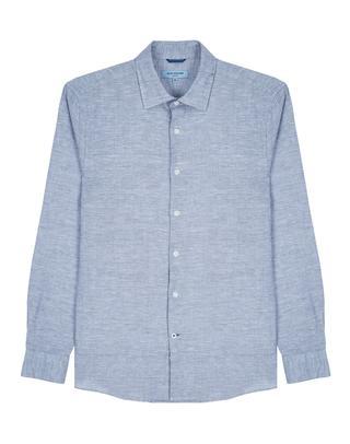 블루 자수패턴 린넨혼방 긴팔캐주얼셔츠