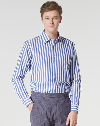 블루 스트라이프 면 긴팔캐주얼셔츠