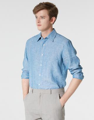 블루 쿨렉션린넨 긴팔캐주얼셔츠