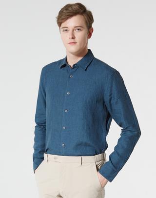 네이비 린넨 긴팔캐주얼셔츠