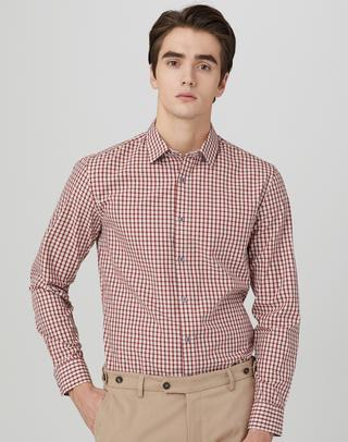 와인 체크 면 긴팔캐주얼셔츠