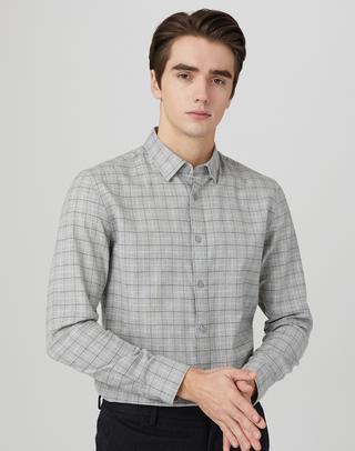 그레이 버튼다운 면 긴팔캐주얼셔츠