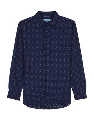 네이비 도트 면혼방 긴팔캐주얼셔츠