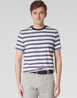 네이비 스트라이프 면혼방 반팔티셔츠