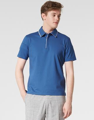 블루 라인배색 면혼방 반팔카라티셔츠