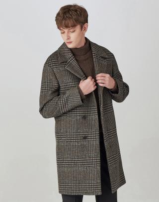 [BROWN] 체크 울혼방 반더블 히든 코트
