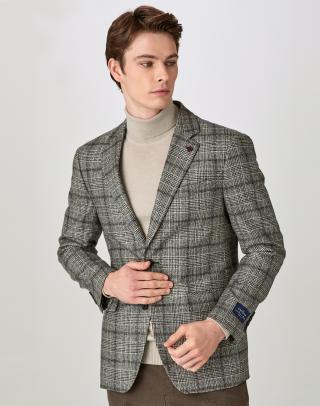 [GRAY] 글랜체크 패턴 울혼방 자켓