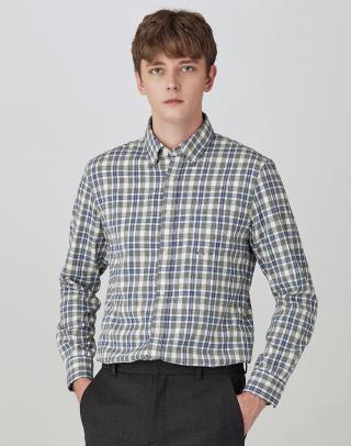 [GRAY] 체크 레귤러핏 버튼다운 캐주얼셔츠
