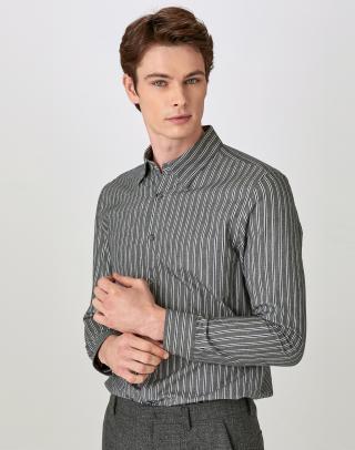 [GRAY] 더블 스트라이프 면혼방 캐주얼셔츠