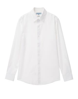 화이트 솔리드 면혼방 긴팔드레스셔츠