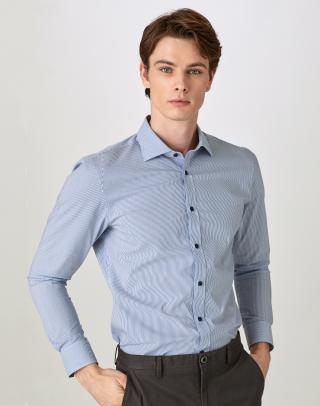[BLUE] 씬 스트라이프 면혼방 캐주얼셔츠