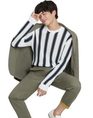 카키 단색 면혼방 캐주얼자켓