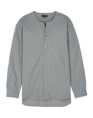 카키 면 노카라 긴팔캐주얼셔츠