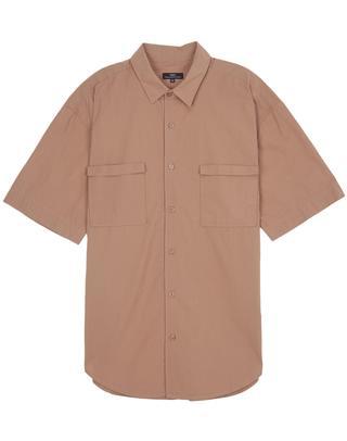 브라운 포켓 면 반팔캐주얼셔츠