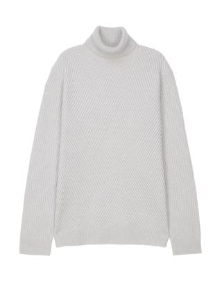 [GREY] 캐시미어혼방 피셔맨 변형조직 터틀넥 스웨터