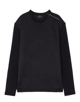 블랙 니트배색 스웨이드 긴팔티셔츠