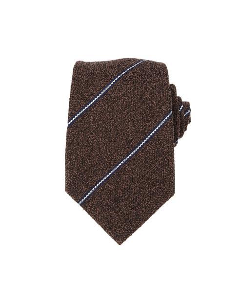 [박보검 착용]브라운 스트라이프 실크혼방 넥타이
